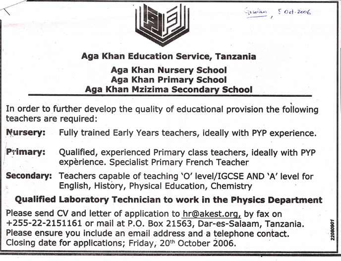Tanzania Guardian advertisement for teachers at all of AKES,T's schools in Dar es Salaam