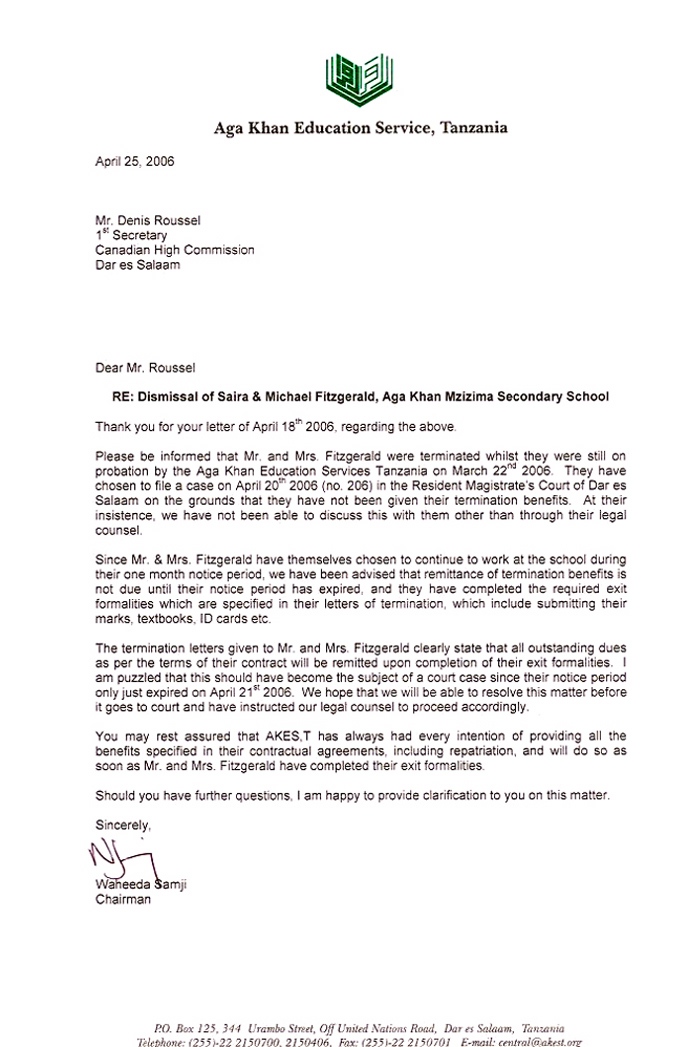 The Chair of AKES'T's response to the Canadian High Commission's letter
