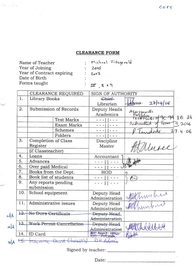 M Fitzgerald's clearance form, completed on 27 April 2006