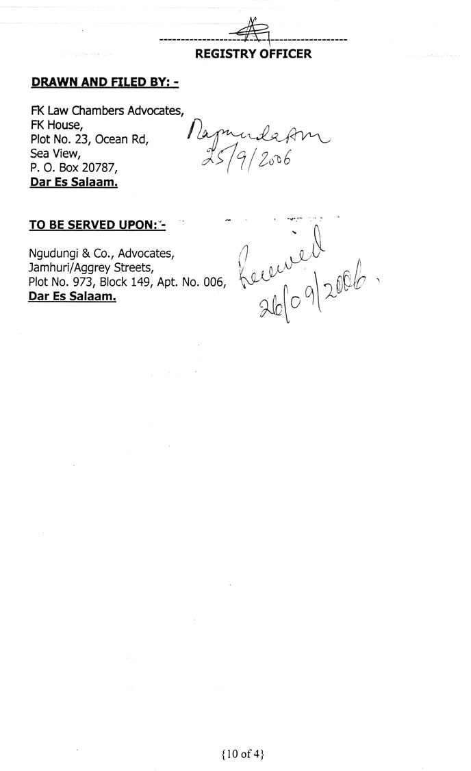 The tenth page of the defendant's written submissions