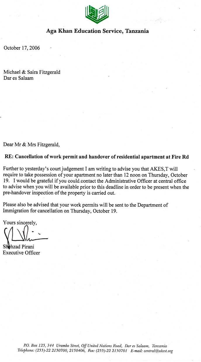 AKES,T's first eviction letter, from Shehzad Pirani, giving us two days notice