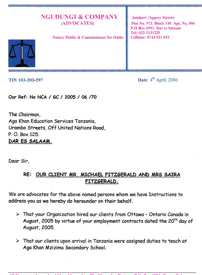 Our lawyer's letter to the Chair of AKES,T regarding our termination
