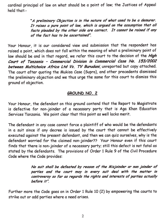 The second page of our response to the defendant's preliminary objections