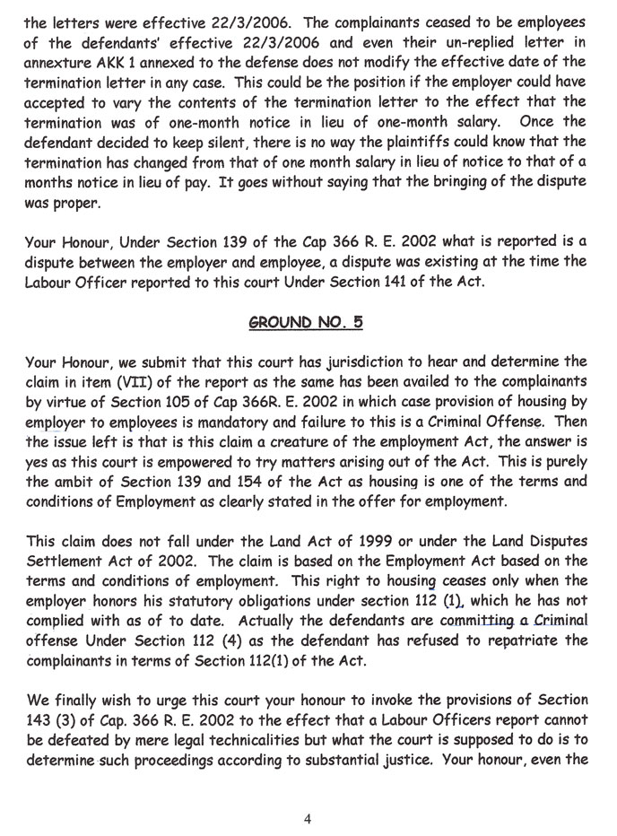 The fourth page of our response to the defendant's preliminary objections