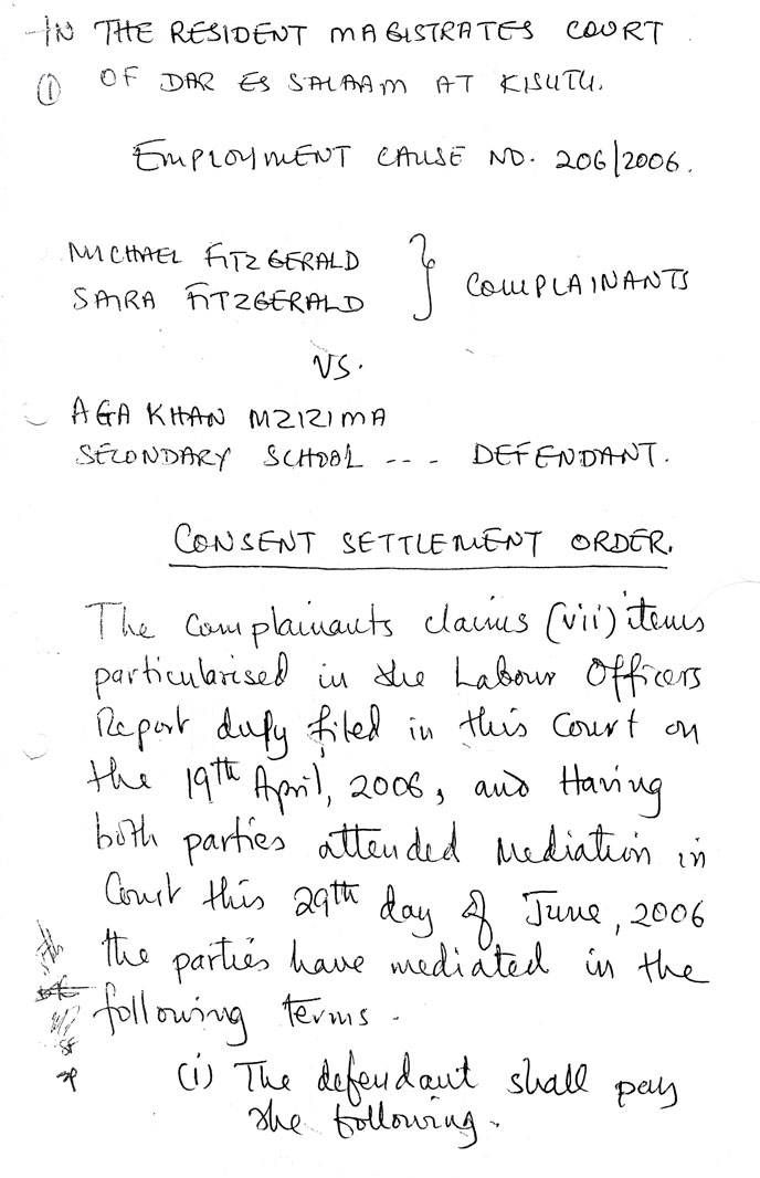 The first page of the consent settlement order we signed with the defendant on 29 June 2006