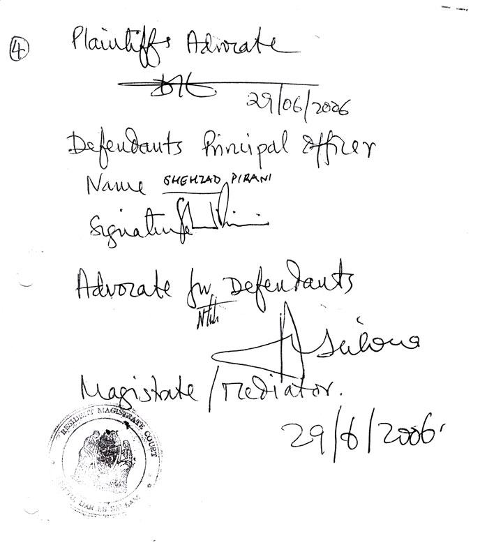 The fourth page of the consent settlement order we signed with the defendant on 29 June 2006