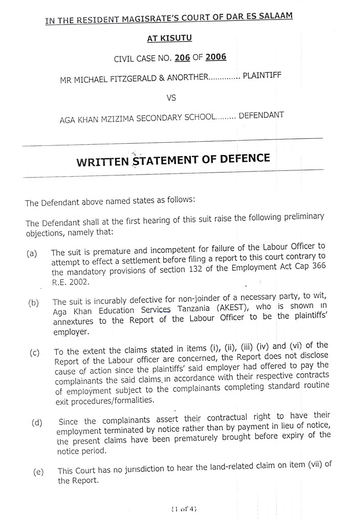 First page of the written statement of defence