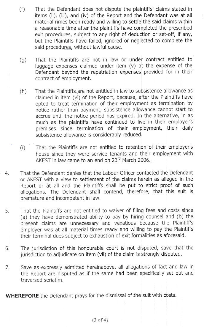 Third page of the written statement of defence