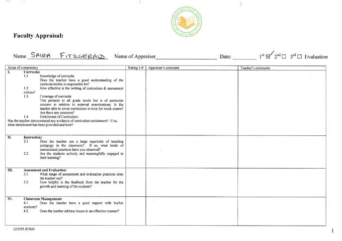 Page 1 of the 2006 AKMSS staff appraisal form