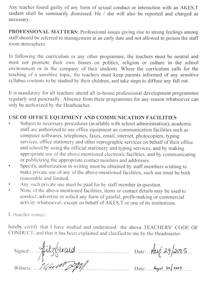 The second page of the Code of Conduct in the contract with AKES,T