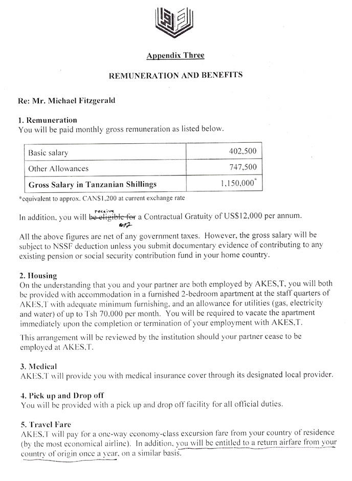 The first page of the Remuneration and Benefits section of the contract with AKES,T