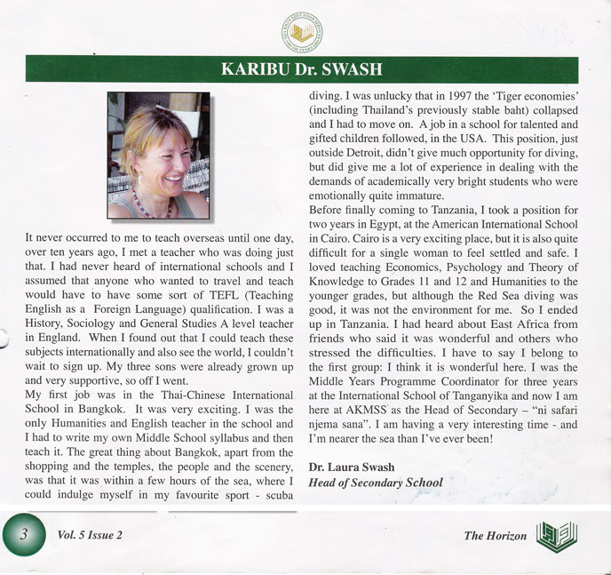 A blurb on Laura Swash, the Head of School at AKMSS in 2005-2006